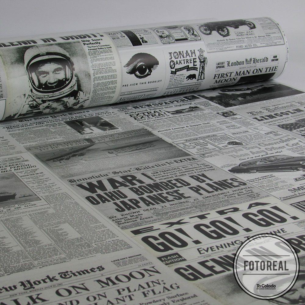 Queima de Estoque - Papel de Parede Vintage Jornal  - TaColado