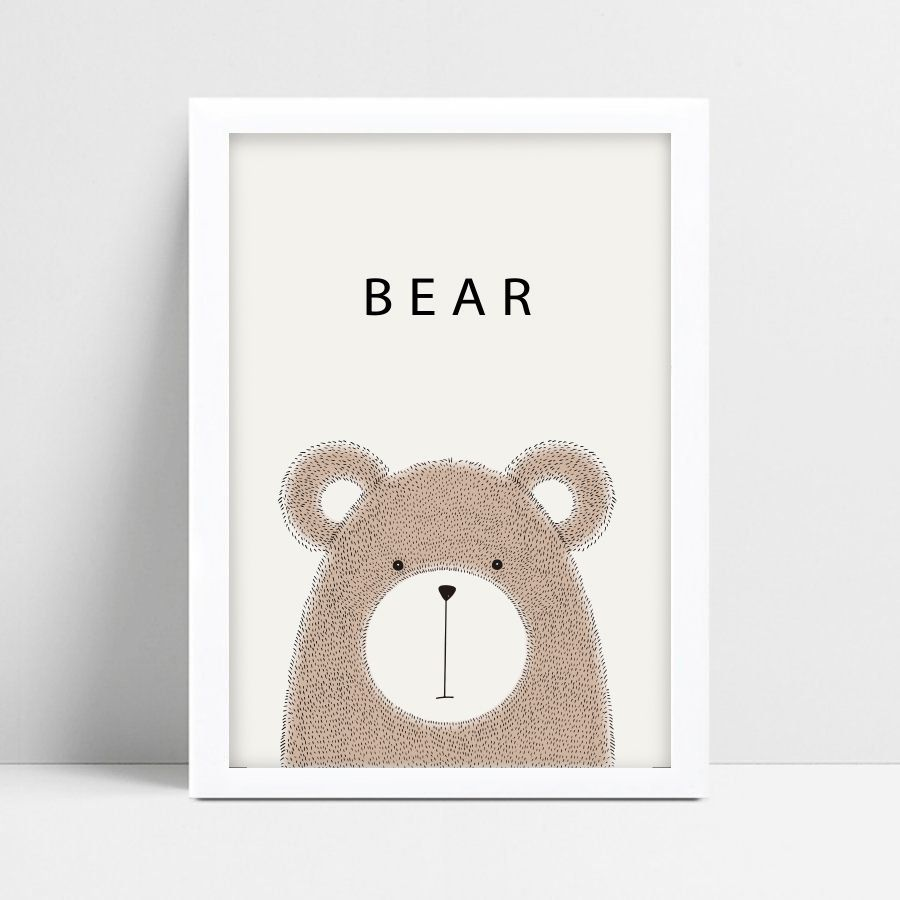 Quadro Decorativo Escandinavo Bear  - TaColado