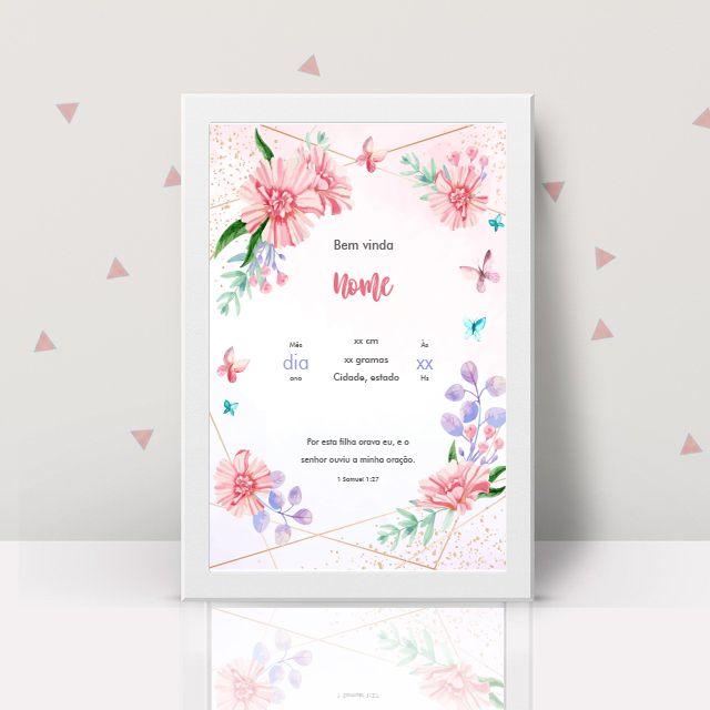 Quadro Personalizado A Minha Chegada Floral  - TaColado