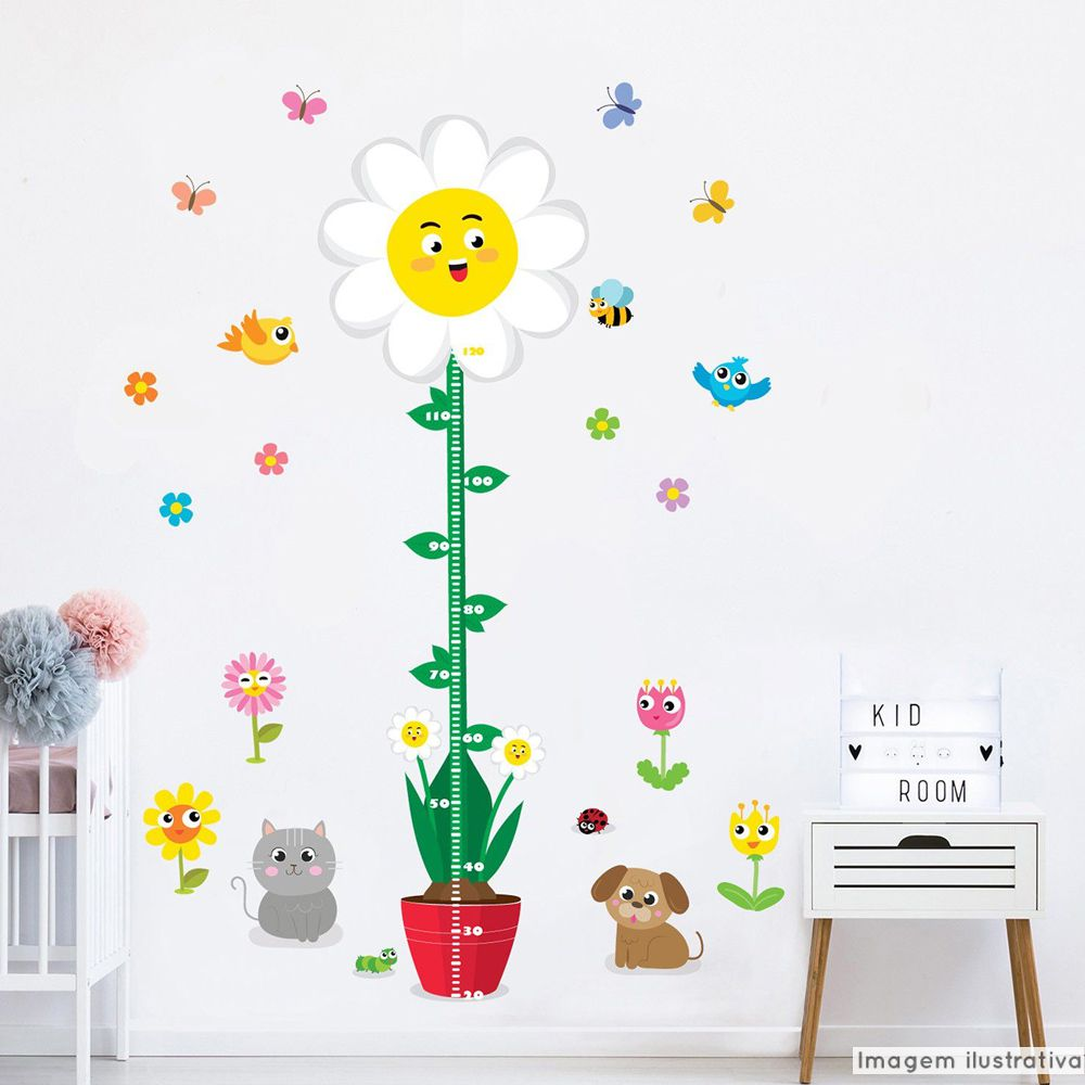 Régua de Crescimento Infantil Flores  - TaColado