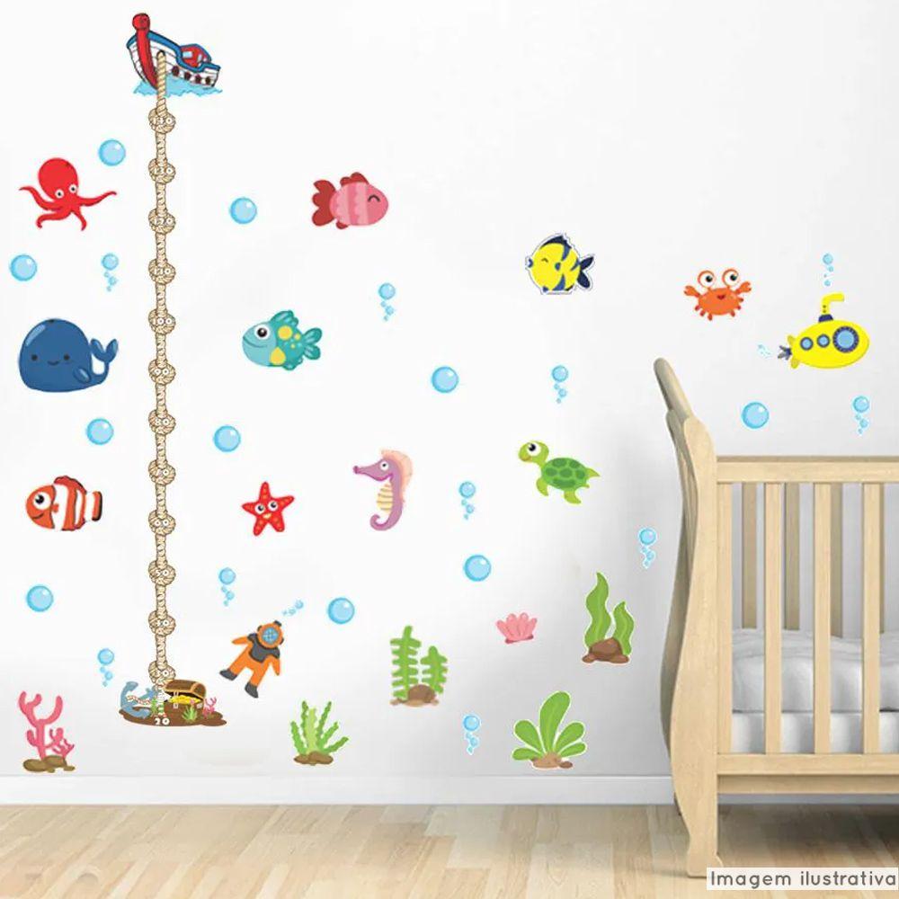 Régua de Crescimento Infantil Fundo do Mar  - TaColado