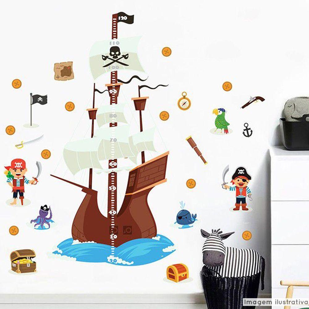 Régua de Crescimento Infantil Navio Pirata  - TaColado