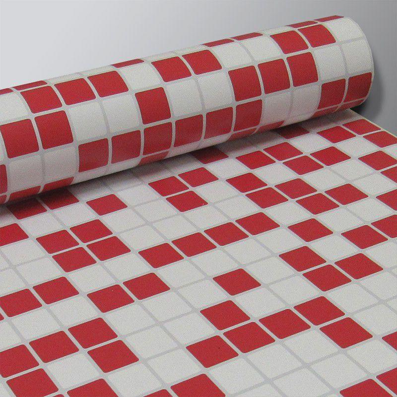 Adesivo Destacável Pastilha para Cozinha Mix Branco e Vermelho  - TaColado