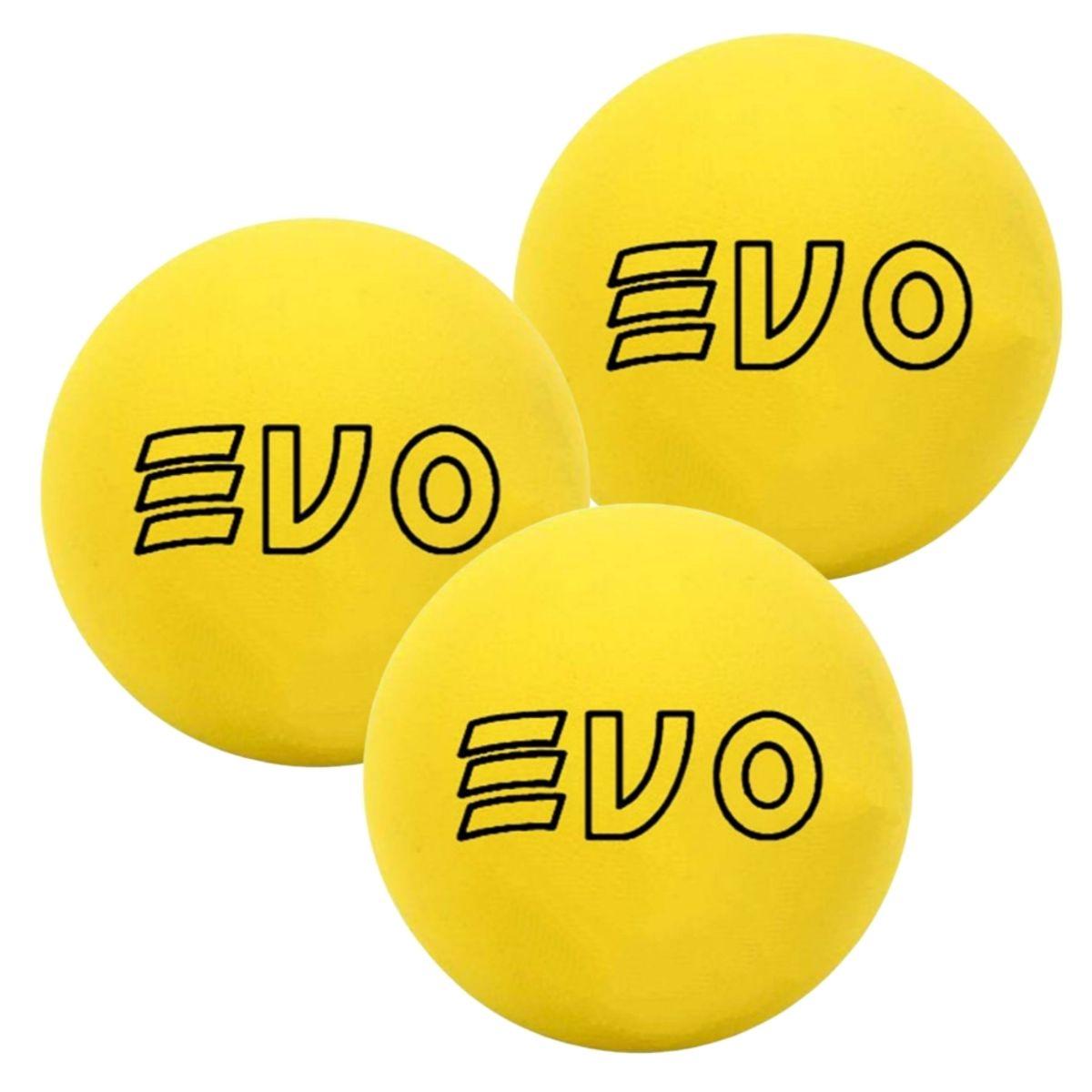 Bola De Frescobol Evo Amarelo Kit 3 Unidades