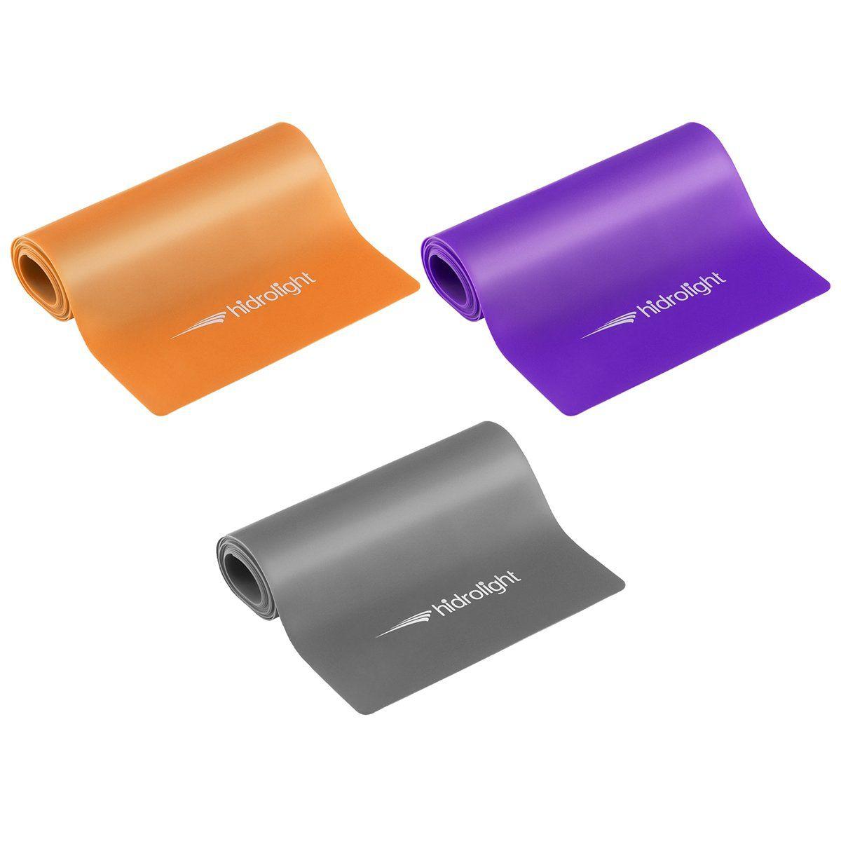Kit 3 Faixas Elásticas Latex Band Pilates Yoga Hidrolight