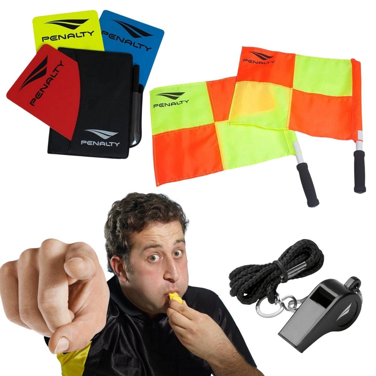 Kit Árbitro Com Apito Cartão E Bandeira Penalty Pro