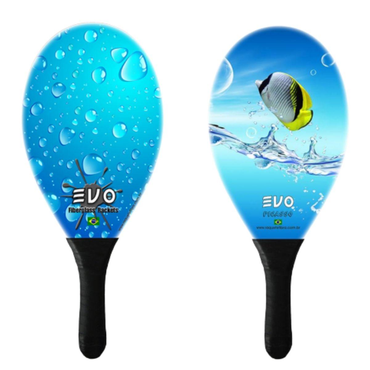 Kit Frescobol 2 Raquetes Fibro De Vidro Evo Agua Peixe
