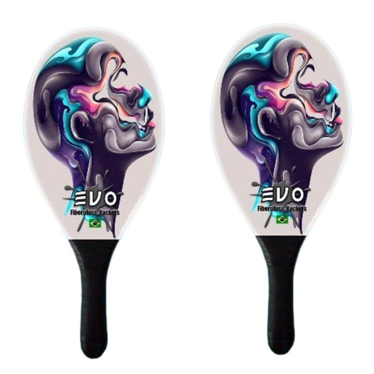Kit Frescobol 2 Raquetes Fibro De Vidro Evo Face
