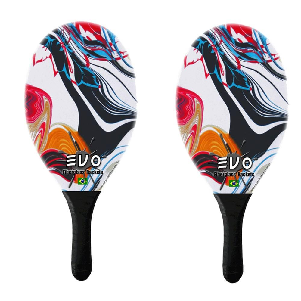 Kit Frescobol 2 Raquetes Fibro De Vidro Evo Vetor