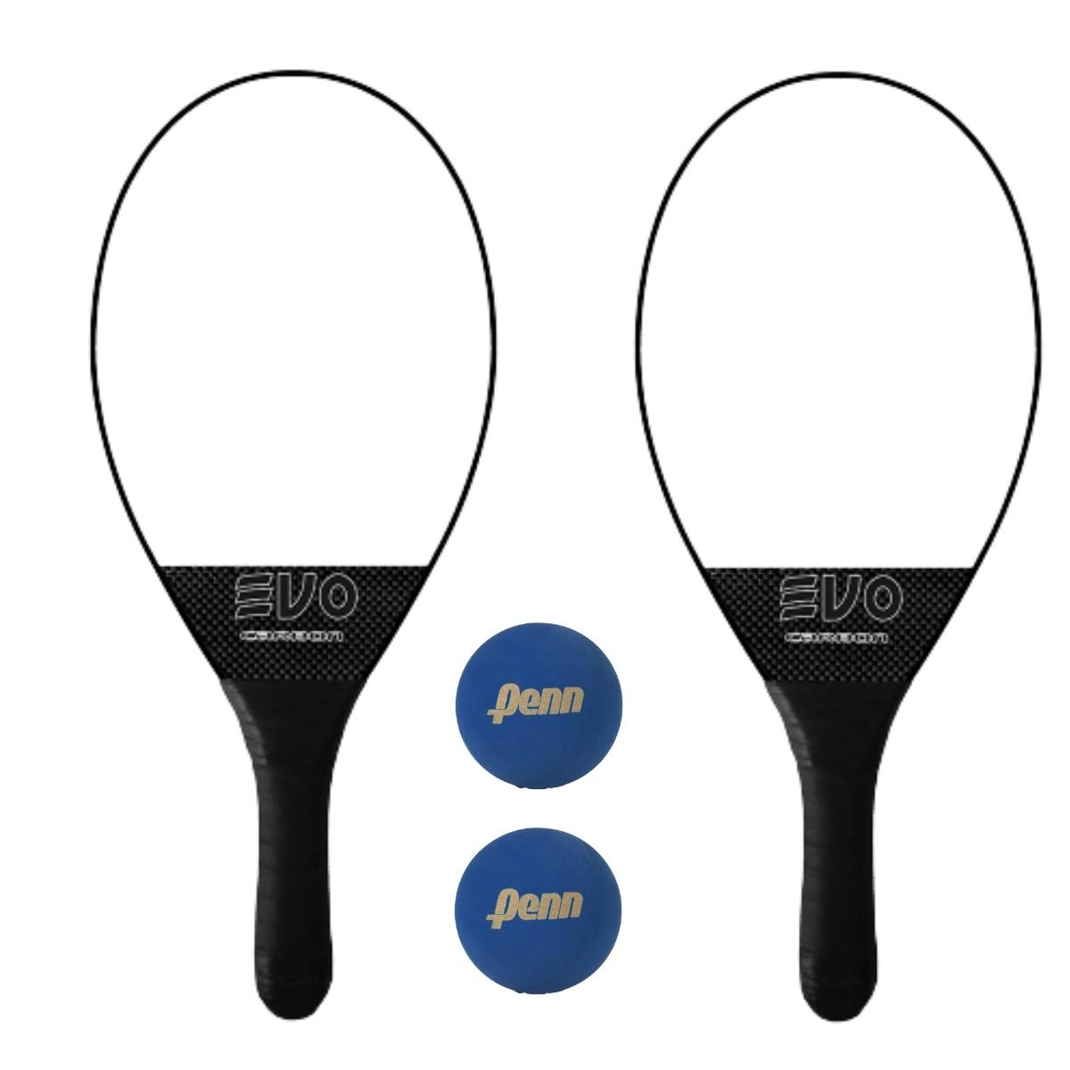 Kit Raquetes Frescobol Evo Carbon com 2 Bolas Penn