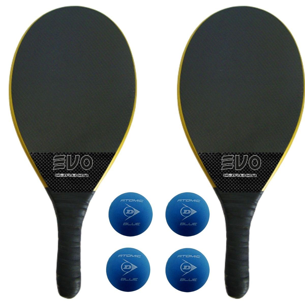 Kit Raquetes Frescobol Evo Carbon Preto com 4 Bolas Dunlop