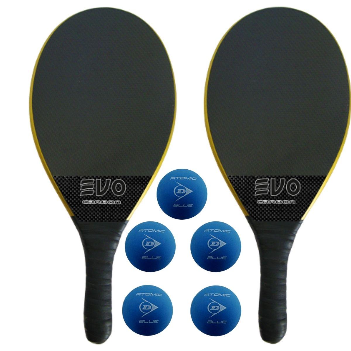 Kit Raquetes Frescobol Evo Carbon Preto com 5 Bolas Dunlop