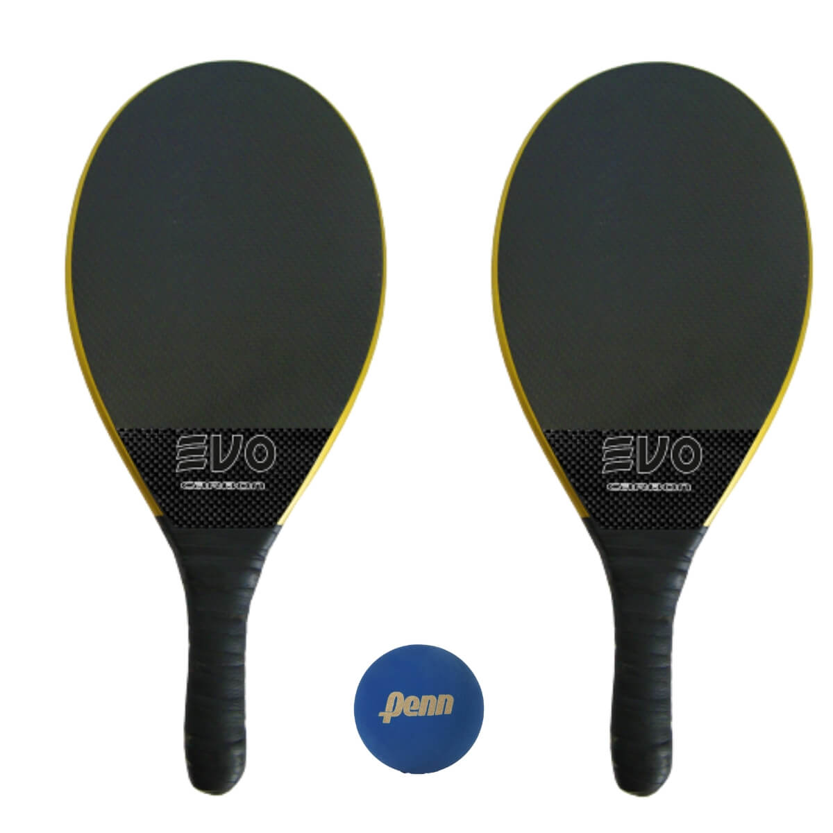 Kit Raquetes Frescobol Evo Carbon Pro Preto com Bola Penn