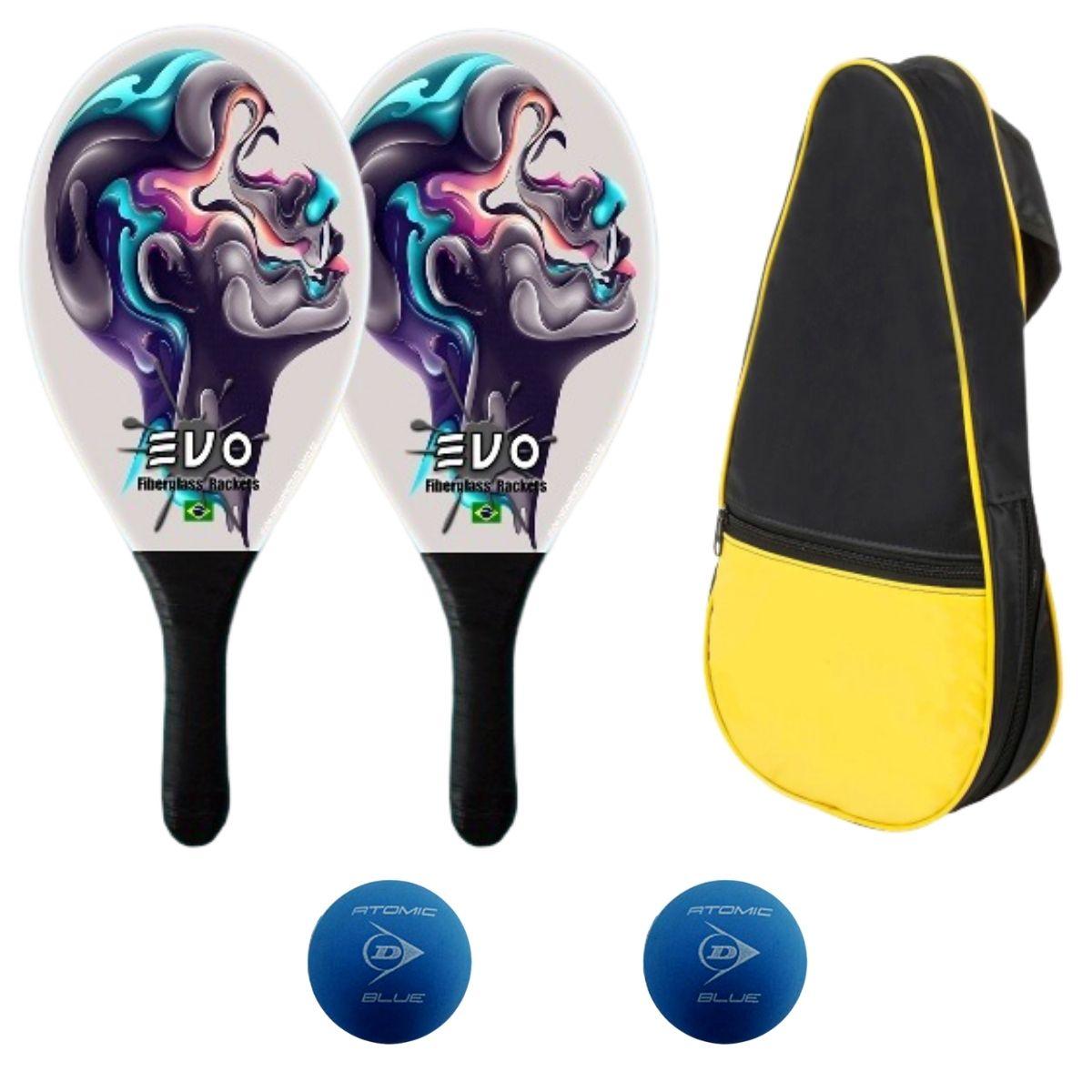 Kit Raquetes Frescobol Evo Fibra Face com Raqueteira 2 Bolas
