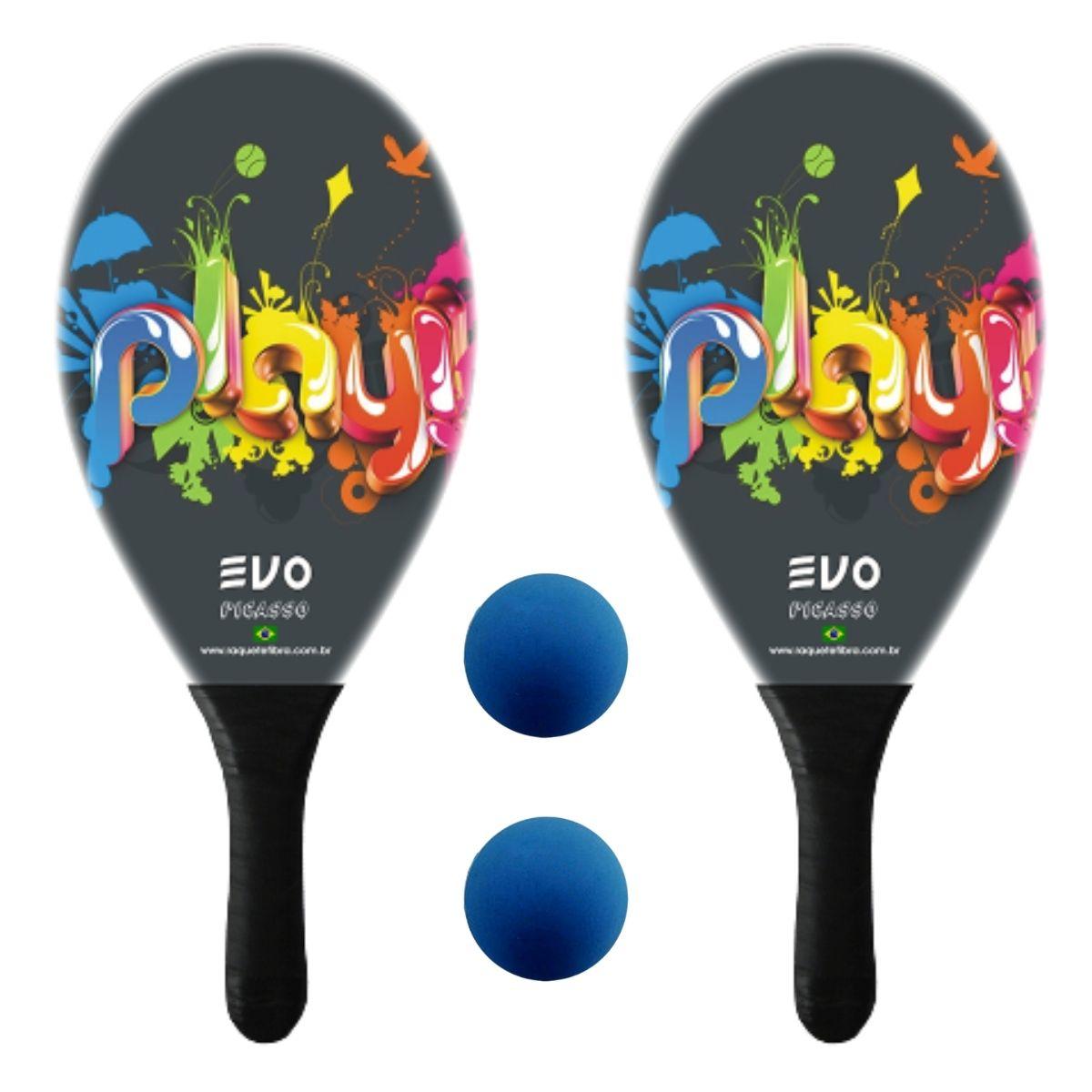 Kit Raquetes Frescobol Evo Fibra Play com 2 Bolas