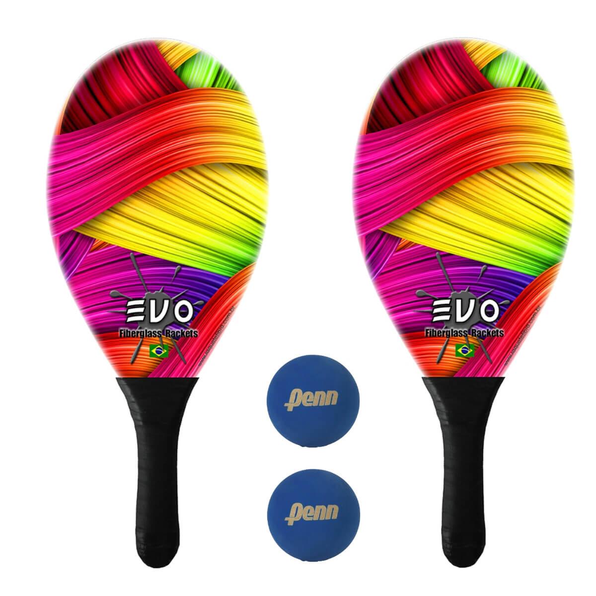 Kit Raquetes Frescobol Evo Fibra Vidro Color com 2 Bolas Penn