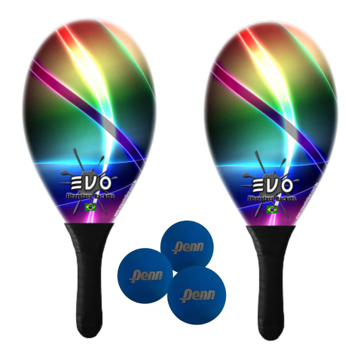 Kit Raquetes Frescobol Evo Fibra Vidro Laser com 3 Bolas Penn