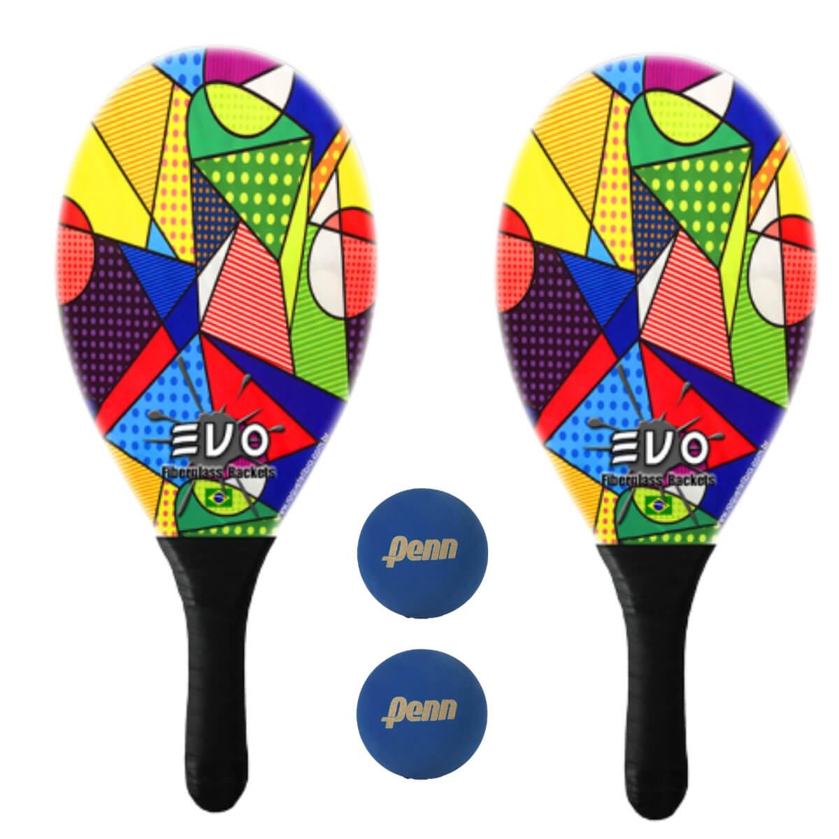 Kit Raquetes Frescobol Evo Fibra Vidro Picasso com 2 Bolas Penn