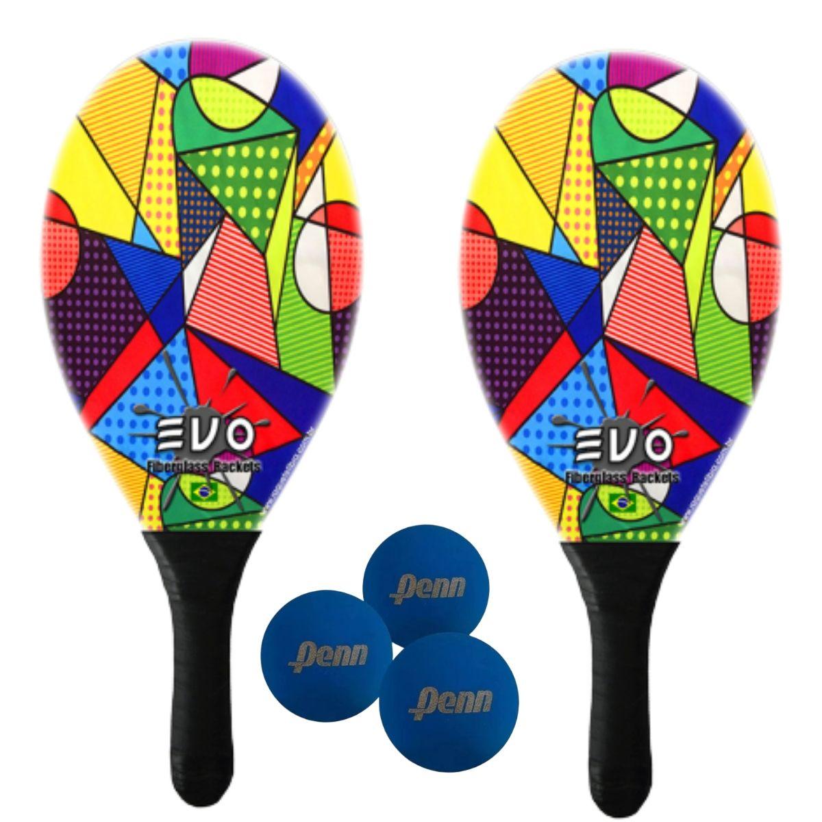 Kit Raquetes Frescobol Evo Fibra Vidro Picasso com 3 Bolas Penn