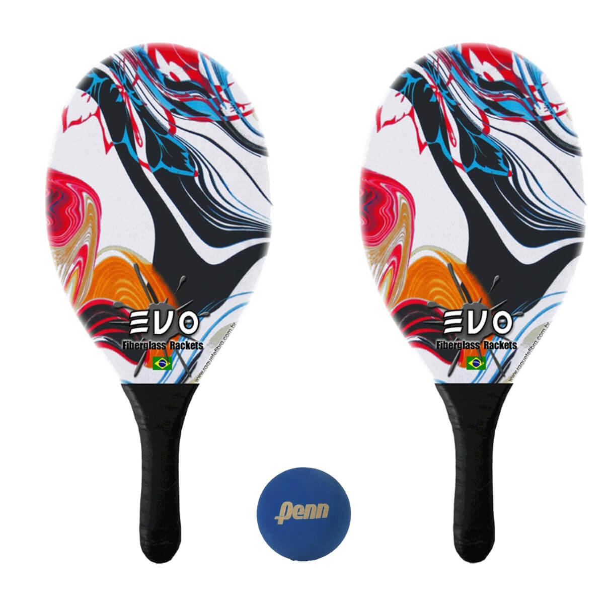 Kit Raquetes Frescobol Evo Fibra Vidro Vetor com Bola Penn