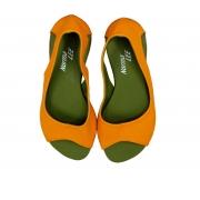 Sandália Bella laranja solado verde