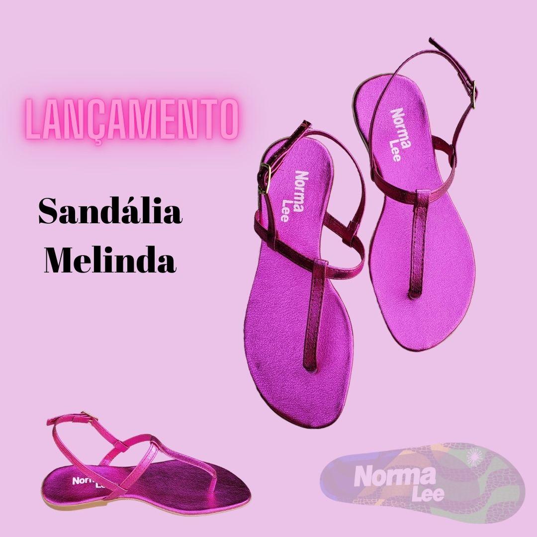 Sandália Melinda rosa metálico