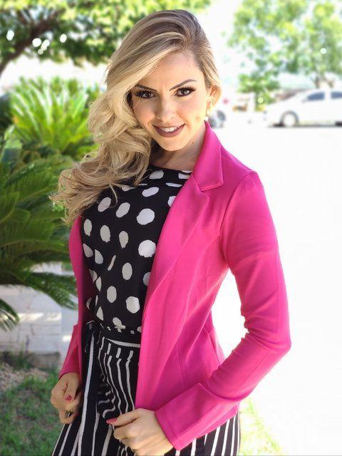 Blazer Feminino em Malha de Poliamida Pink