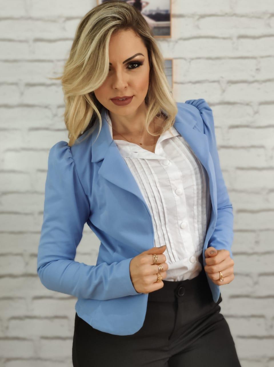 Blazer Feminino em Poliamida Azul Claro
