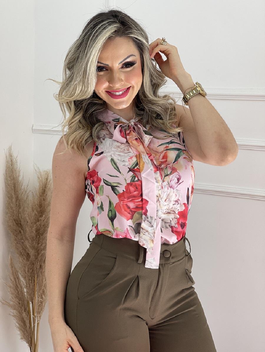 Blusa Cava Americana Estampa Floral Amarra Colo Rosa