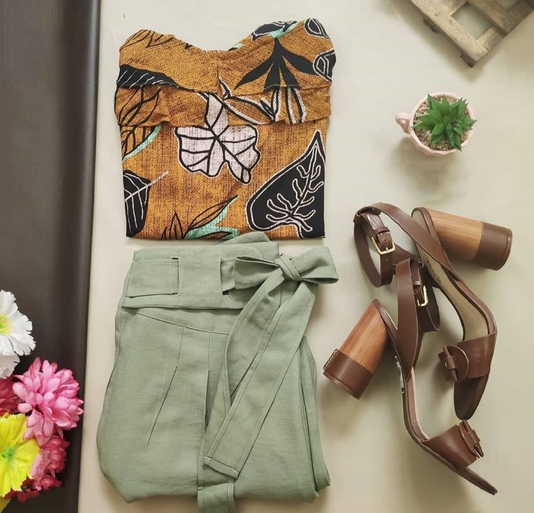 Blusa Ciganinha Mostarda + Calça Skinny Verde