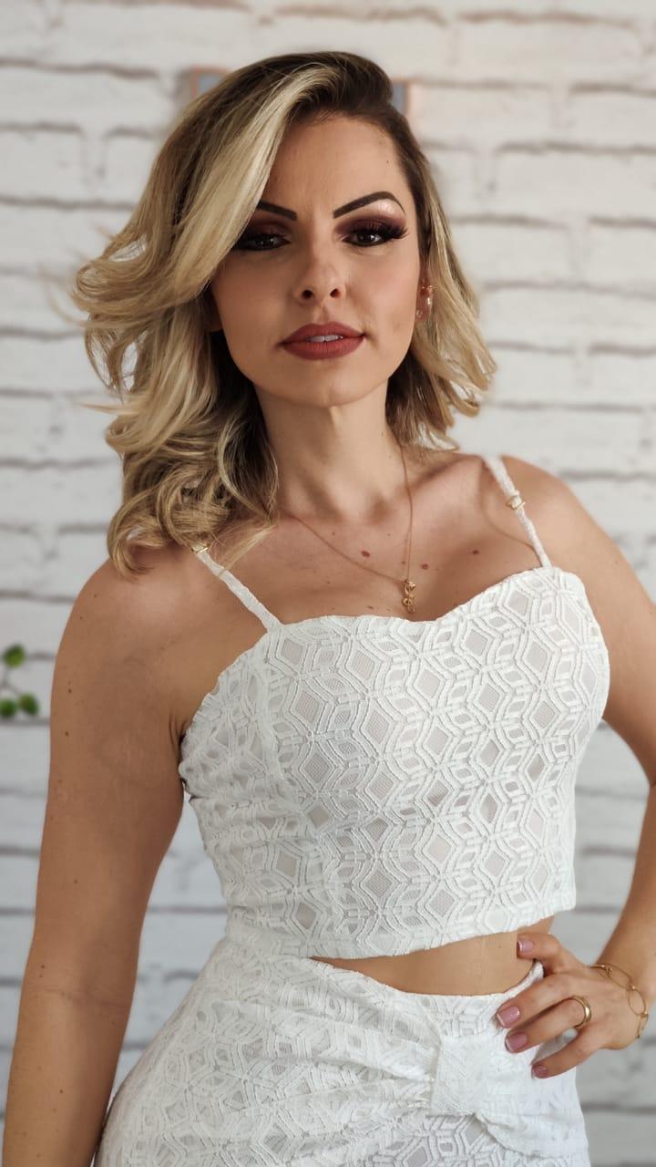 Blusa Cropped Renda Branco