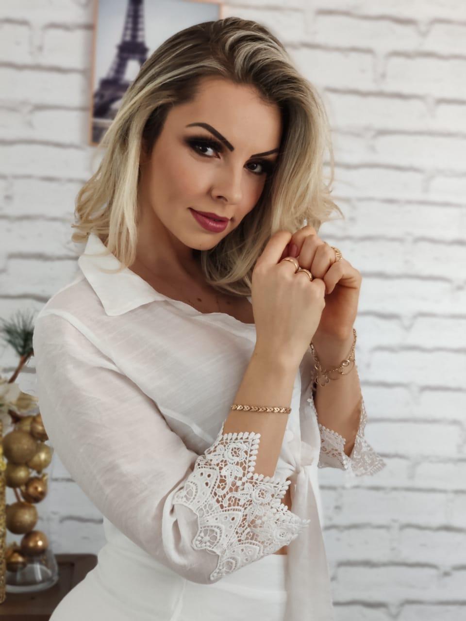 Blusa Cropped Renda Punho Branco