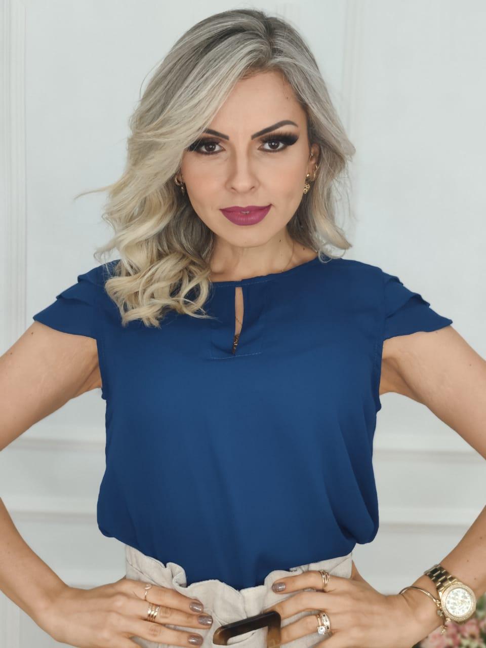Blusa Manga Curta Camadas Azul