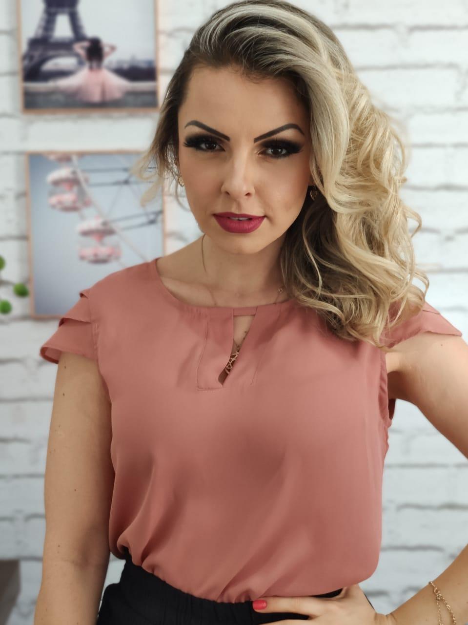 Blusa Manga Curta Camadas Rosa