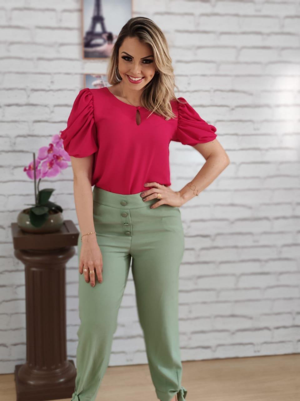 Blusa Manga Curta Princesa Botão Frontal Pink + Calça Skinny Botões Laço Barra Verde
