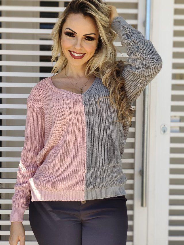 Blusa Manga Longa Tricot Bicolor Cinza