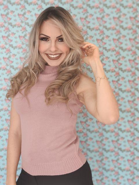 Blusa Regata Tricot Lisa Rosa