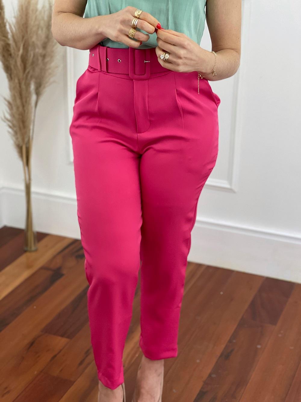 Calça Cenoura Cinto Encapado Pink