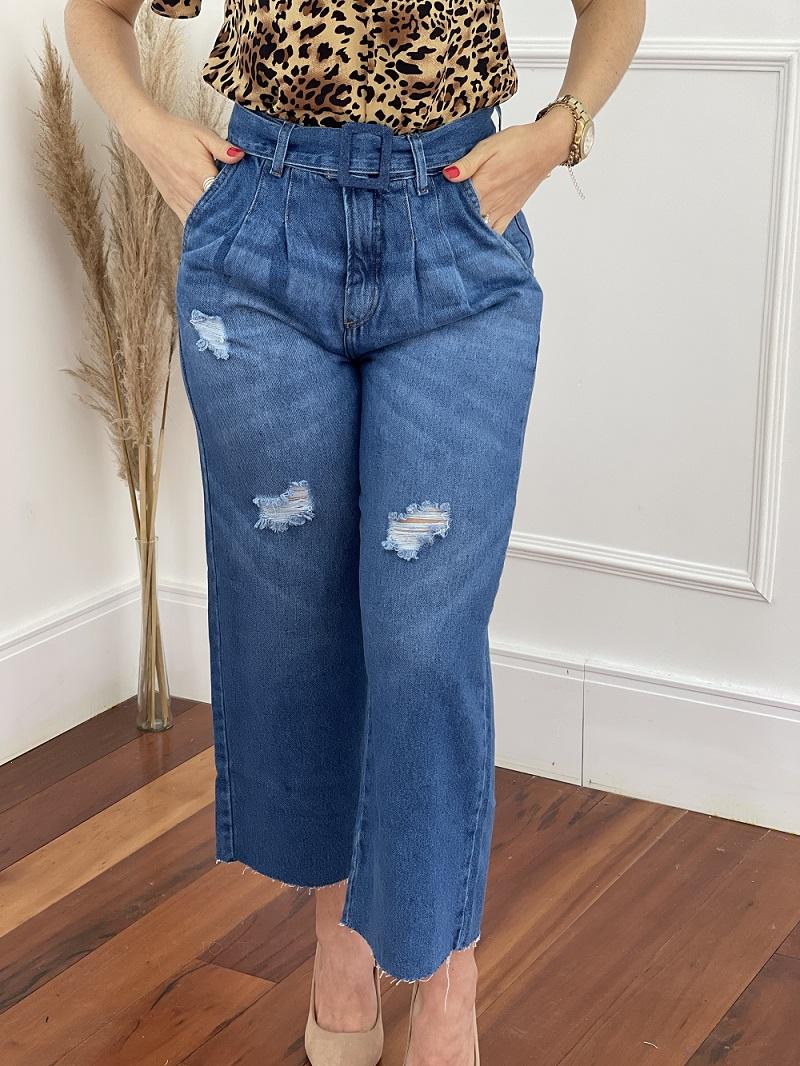Calça Pantacourt Jeans Cinto Encapado