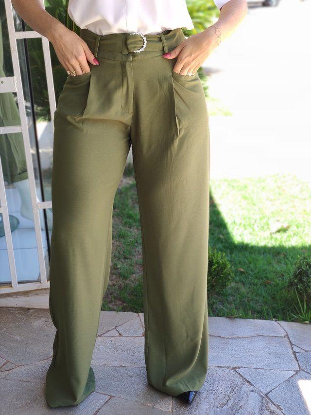 Calça Pantalona Detalhe Cinto Verde