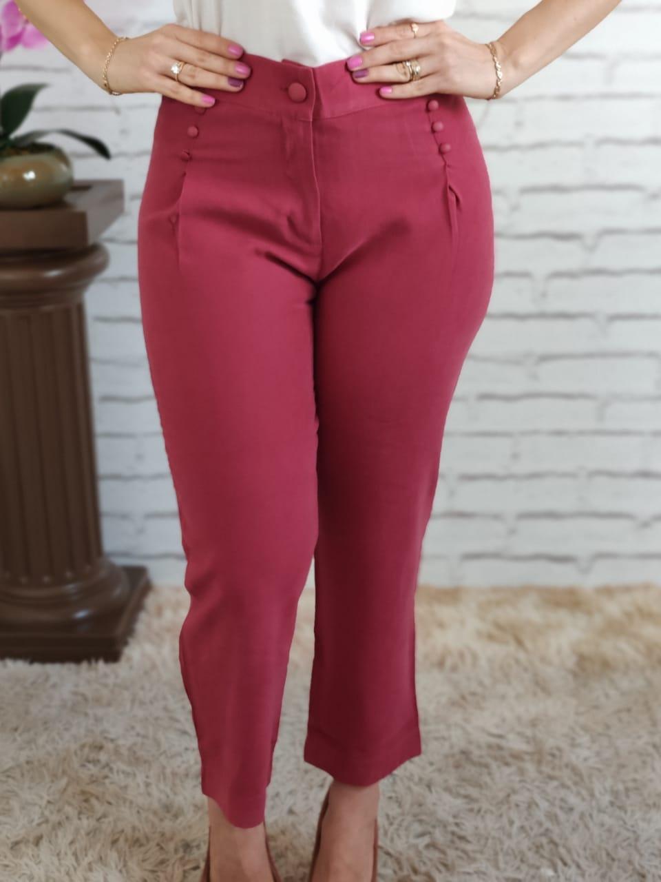 Calça Skinny 3 Botões Rosa