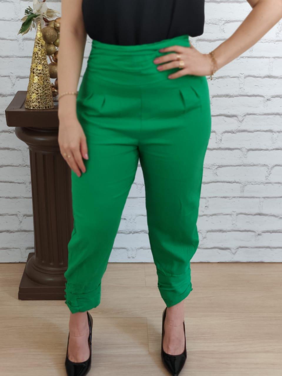 Calça Skinny Botões Barra Verde