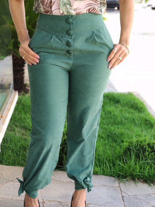 Calça Skinny Botões e Laço Verde