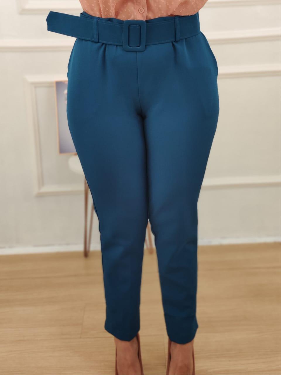 Calça Skinny Cinto Encapado Azul