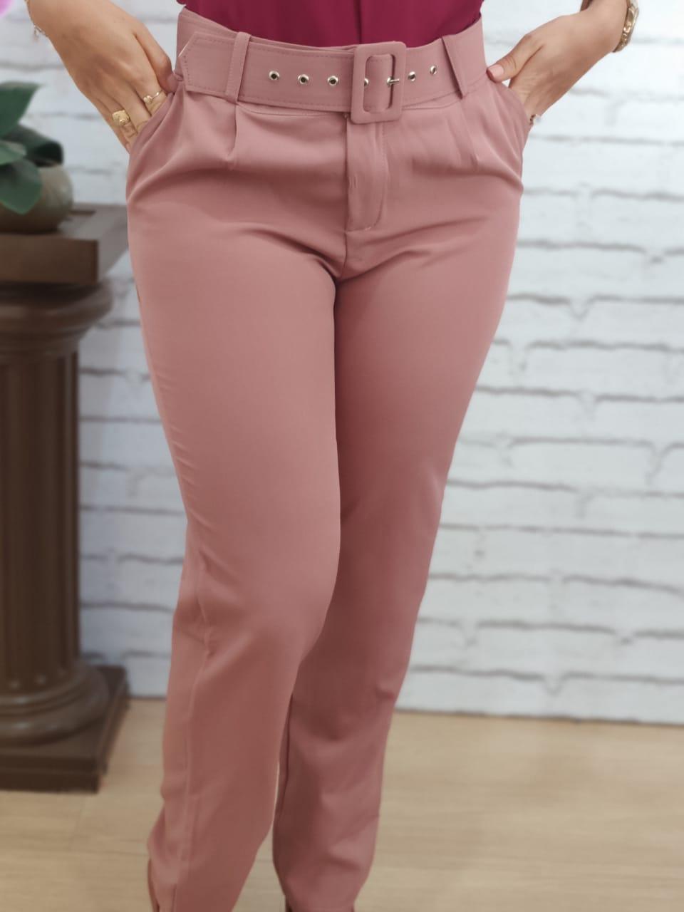 Calça Skinny Cinto Encapado Rosa