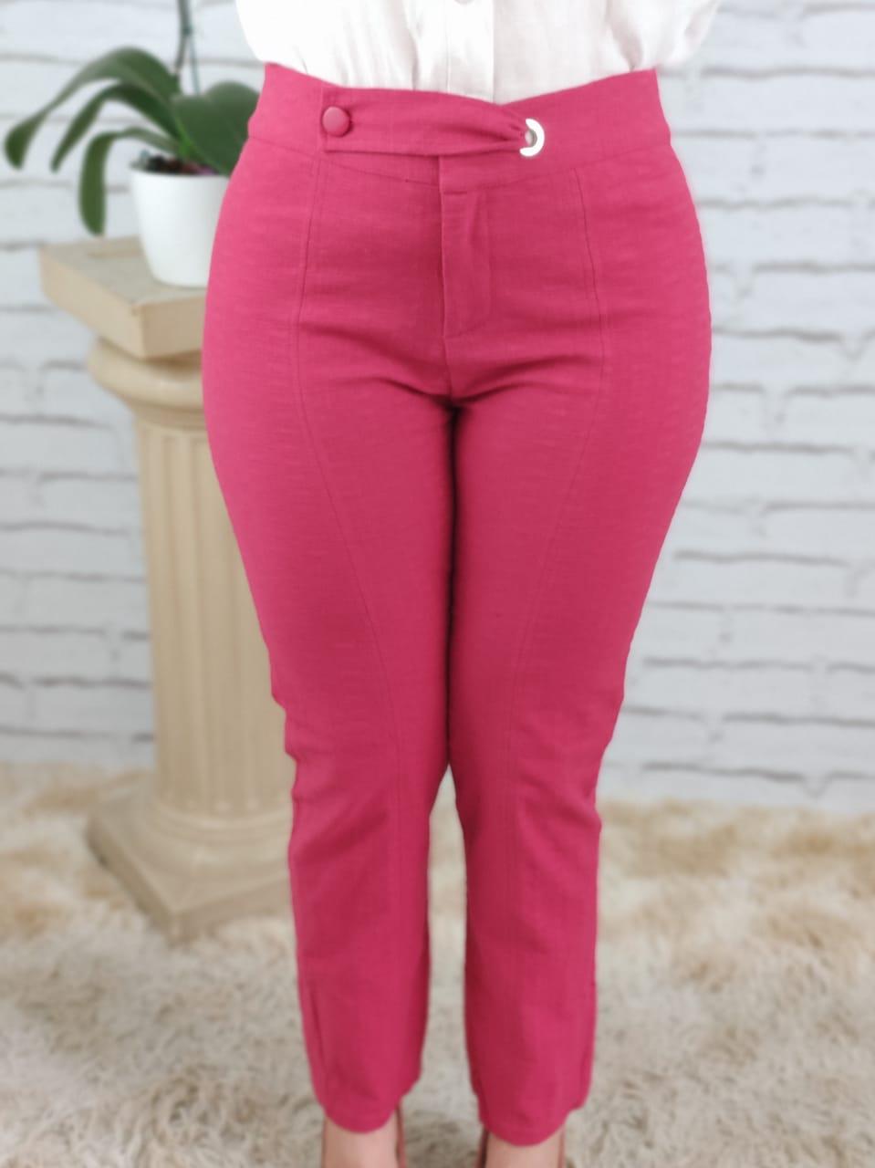 Calça Skinny Cinto Transpassado Pink