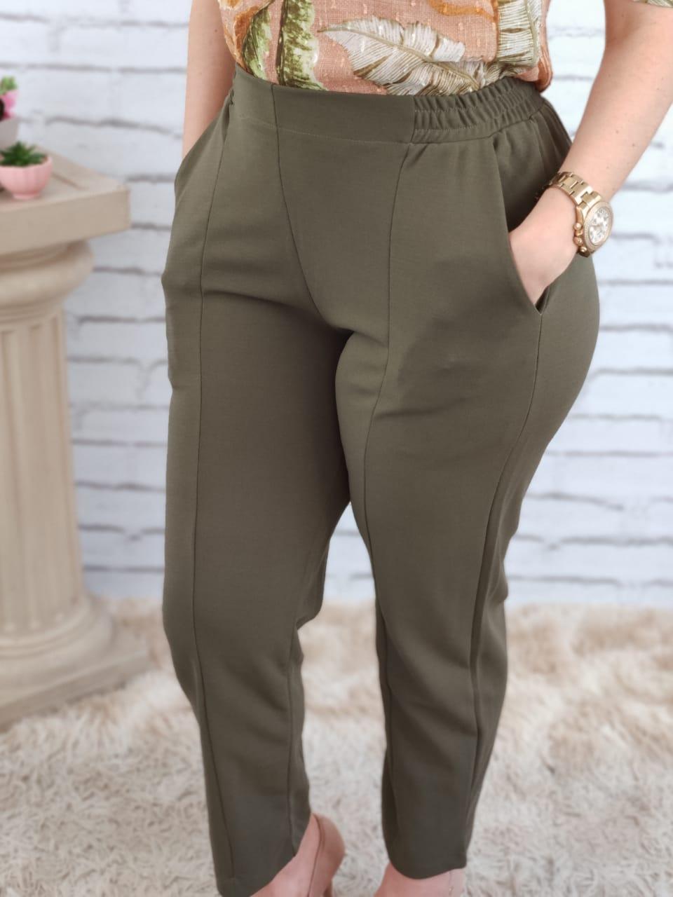 Calça Skinny com Elástico Verde