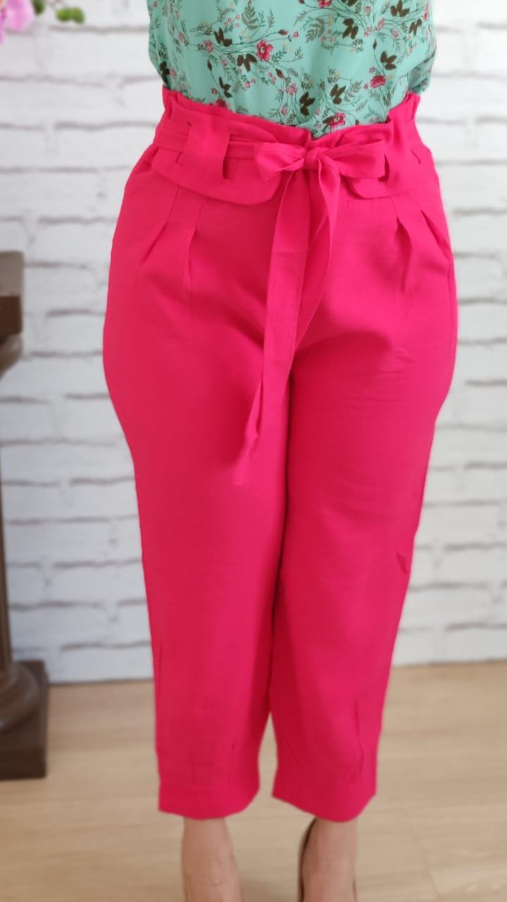 Calça Skinny Detalhe em Cinto Cereja