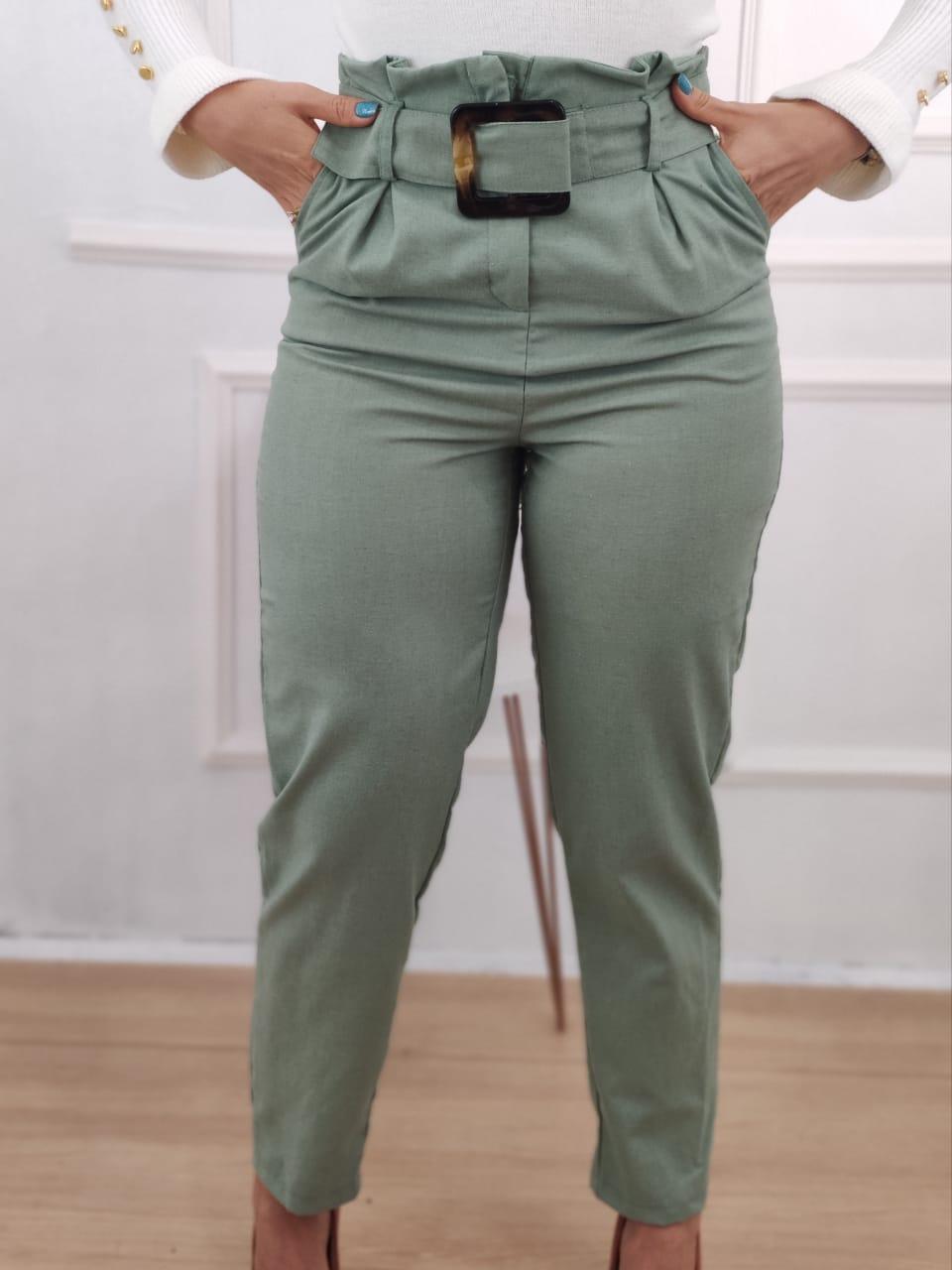 Calça Skinny em Viscolinho Detalhe Cinto Verde