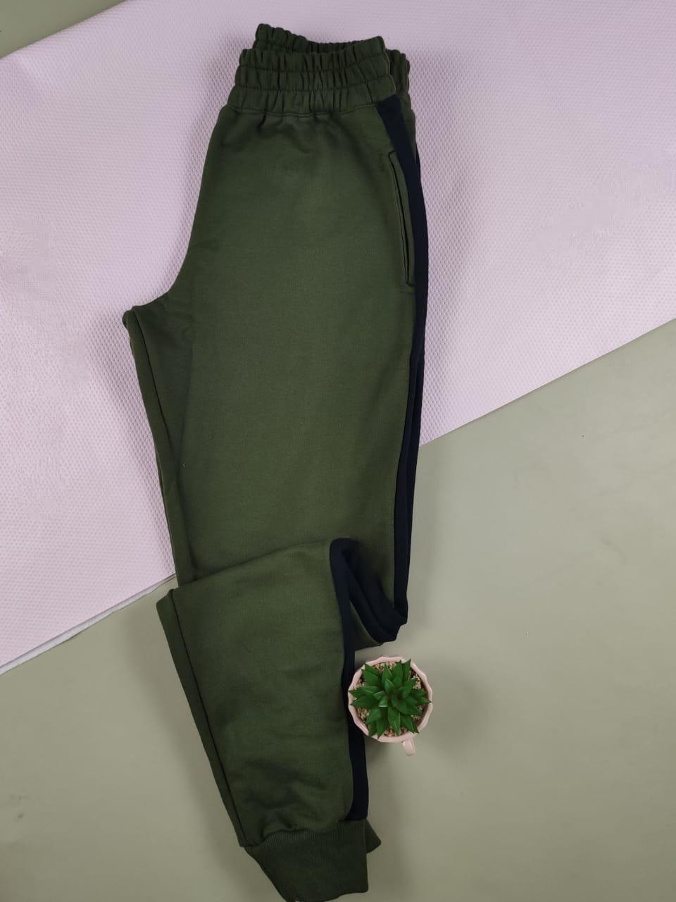 Calça Skinny em Moletinho Listrado Verde